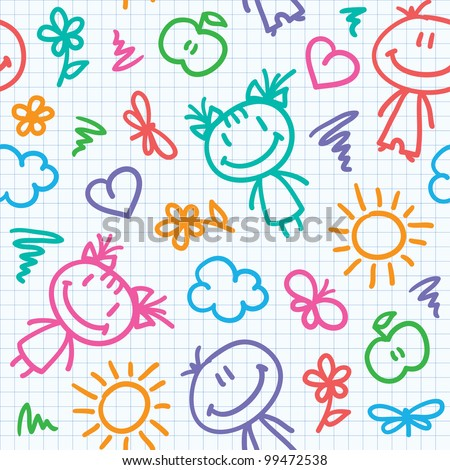 hand drawn seamless pattern with kids and summer symbols