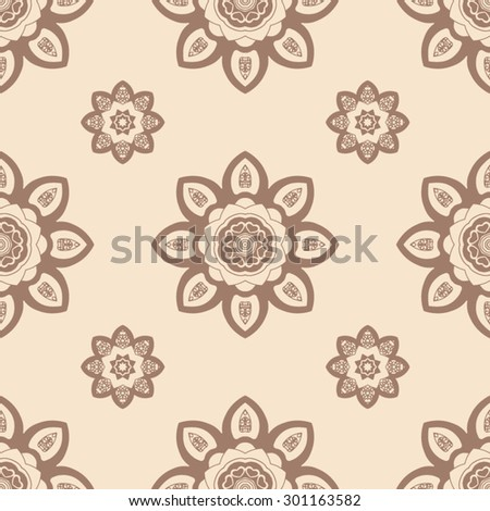 Hand drawn seamless pattern with mandalas