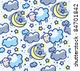 hand drawn seamless pattern with moon and sheep - stock photo