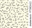 hand drawn seamless pattern with musical signs - stock photo