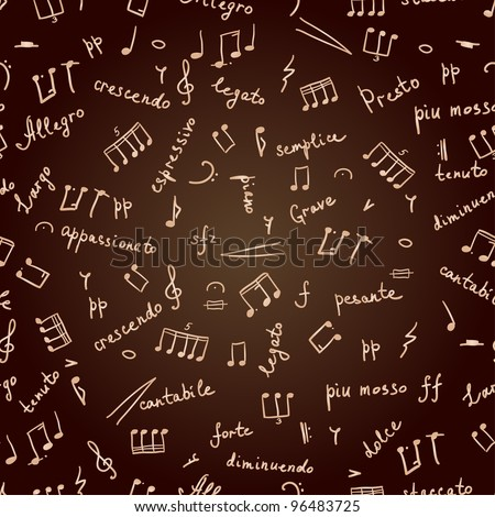 hand drawn seamless pattern with musical signs and italian words - stock vector