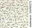 hand drawn seamless pattern with musical signs on wrinkled paper - stock vector
