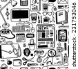 hand-drawn seamless pattern with office doodles - stock vector