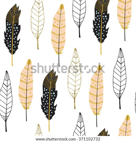 Hand drawn seamless pattern with ornate feathers in black, pink and gold glitter on white background. - stock vector