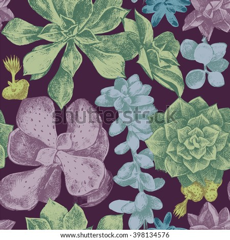 hand drawn seamless pattern with succulents - stock vector