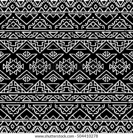 Hand Drawn Seamless Pattern With Tribal Aztec Motives Black And White Abstract Wallpaper In Boho
