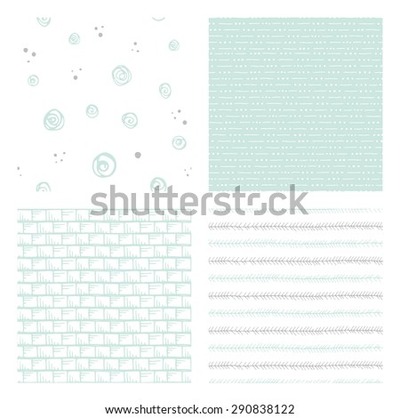 hand drawn seamless patterns: tribal, geometric and abstract doodles, vector illustration - stock vector