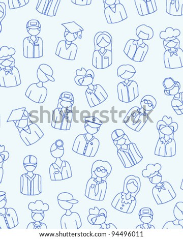 Hand Drawn Seamless People Icons       changeable background   vector eps10 - stock vector