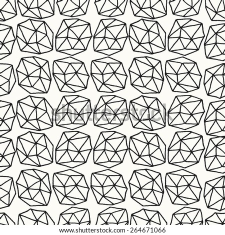 Hand drawn seamless repeat pattern with polygonal shapes in black on white background. - stock vector
