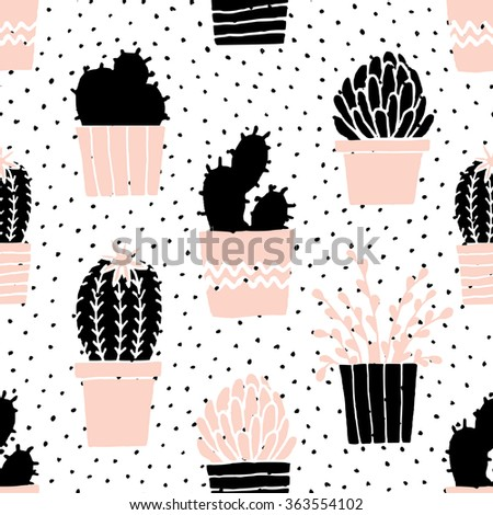 Hand drawn seamless repeat pattern with succulent plants in black, white and pastel pink. - stock vector