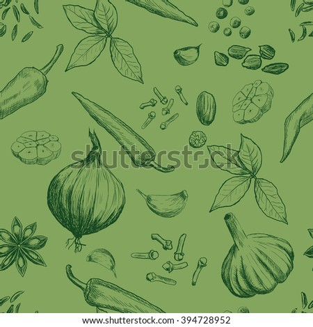 Hand drawn seamless set of organic spices - stock vector