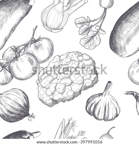 Hand drawn seamless set of organic vegetables. Natural ecological product. Healthy food, dietary product. Pattern for design. Tomato, fennel, onion, eggplant, cauliflower. Vector pattern for design