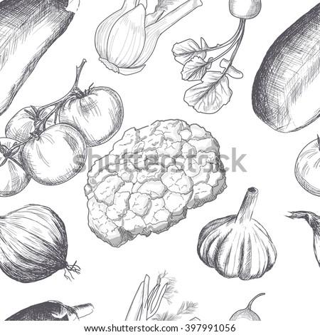 Hand drawn seamless set of organic vegetables. Vector - stock vector