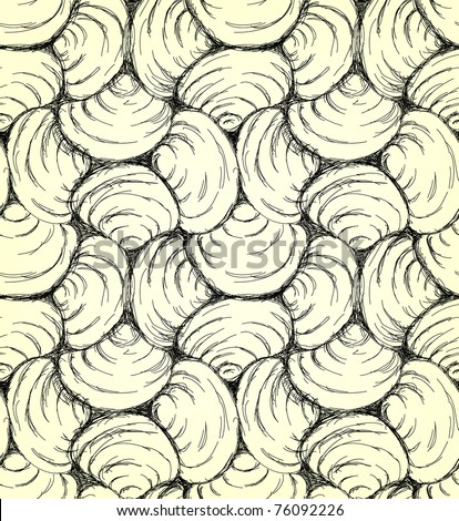 Hand drawn seamless shell pattern. Vector background. - stock vector