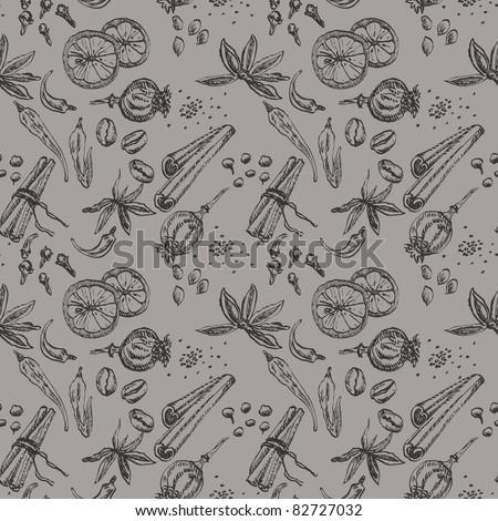 Hand-drawn seamless spice and sweet pattern - stock vector