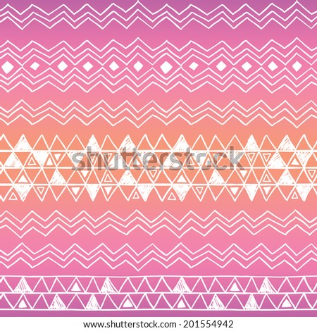 Hand drawn seamless tribal patter with gradient, EPS 10 - stock vector
