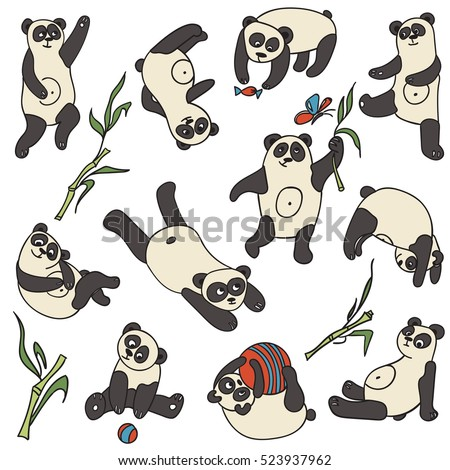 Hand drawn seamless vector pattern with playful pandas  for wallpaper, card, textile, comics.