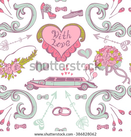 Hand drawn seamless wedding vintage pattern. Vector romantic background, decoration collection with hearts, flowers, arrows, limousine, shoes and ribbons. - stock vector