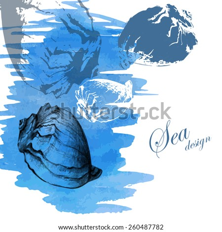 Hand drawn seashells on a watercolor sea background. Vector illustration. - stock vector