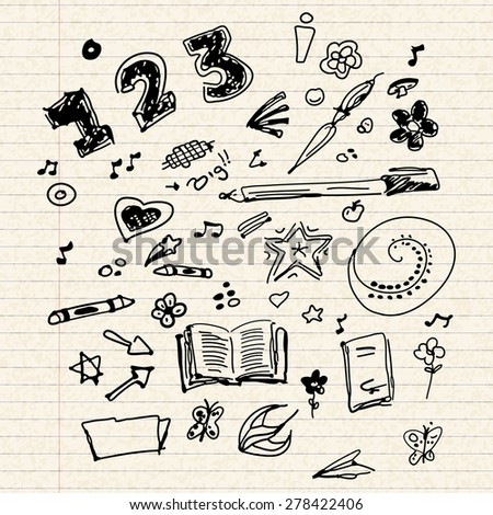 Hand drawn selection of old school doodle illustrations  - stock vector