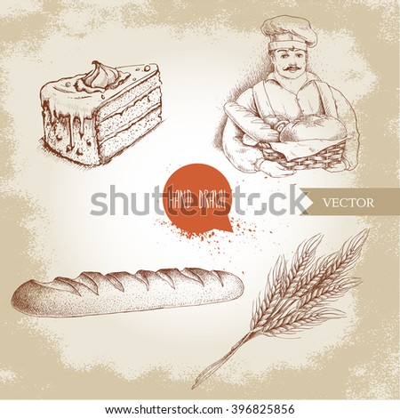 Hand drawn set bakery illustrations. Baker with basket of fresh bread, fresh baguette, cream cake and wheat bunch. - stock vector