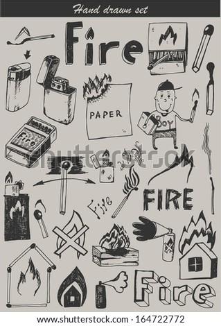 Hand drawn set - fire - stock vector