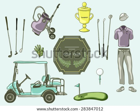 hand drawn set golf club collection in sketch style - stock vector