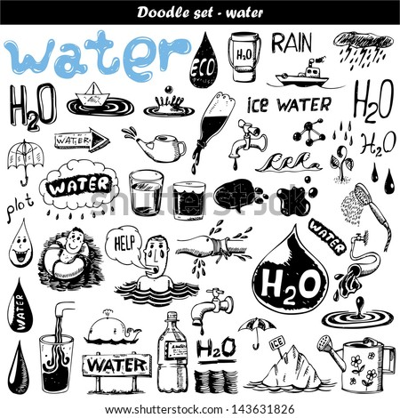 Hand drawn set - H2O - stock vector