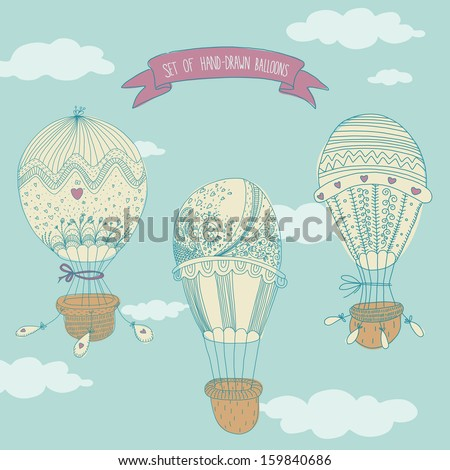Hand drawn set of balloons. EPS 10. No transparency. No gradients. - stock vector
