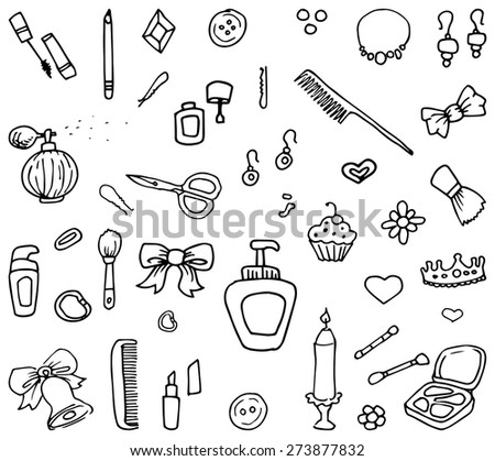 Hand drawn set of beauty and make up related item doodles, vector illustration - stock vector