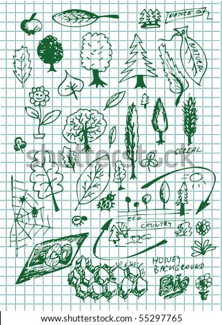 hand drawn set of bio symbols - stock vector
