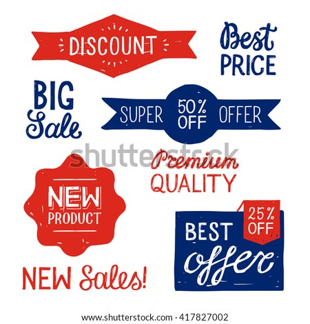 Hand Drawn Set of bright Discount Design Elements. Sale banners design. Super offer 50 percent. New product. Big sale. Premium quality. Best offer. Vector colorful illustration. - stock vector