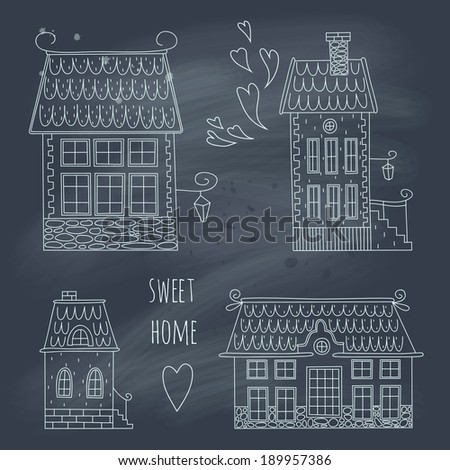 Hand drawn set of cute retro houses on blackboard. EPS 10. No gradients. Transparency. - stock vector