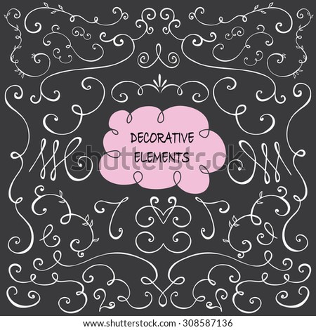 Hand drawn Set of Decorative design elements  - stock vector