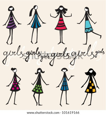 Hand drawn set of decorative doodle silhouettes of girls in colorful dresses - stock vector