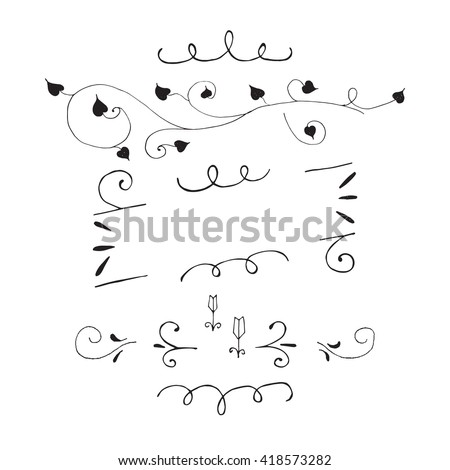 Hand Drawn Set Of Design Elements Decorations For Lettering Painted Poster Template