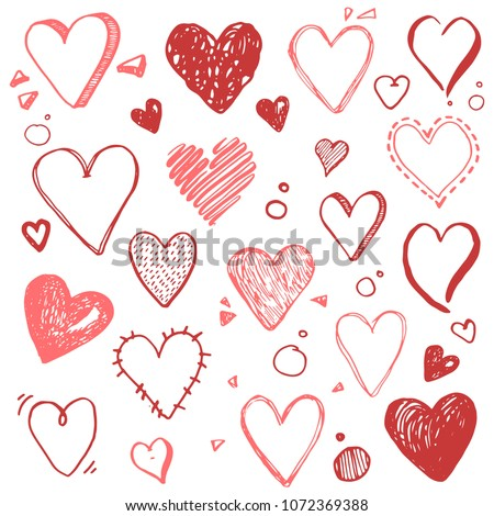 Hand Drawn Set Different Love Symbols Stock Vector 1072369388