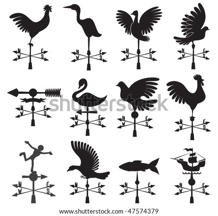 Hand drawn set of different weather vanes.Vector illustration - stock vector