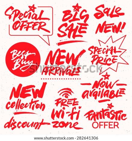 Hand Drawn Set of Discount Design Elements - stock vector