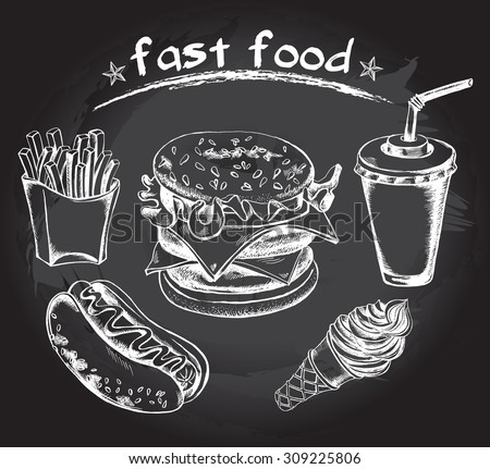 Hand drawn set of fast food - hot dog, french fries, hamburger, drink in a cardboard cup with a straw, cone with ice cream. Vector Illustration. Poster on a blackboard. - stock vector