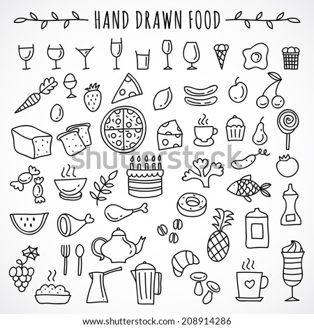 Hand drawn set of food icons - stock vector