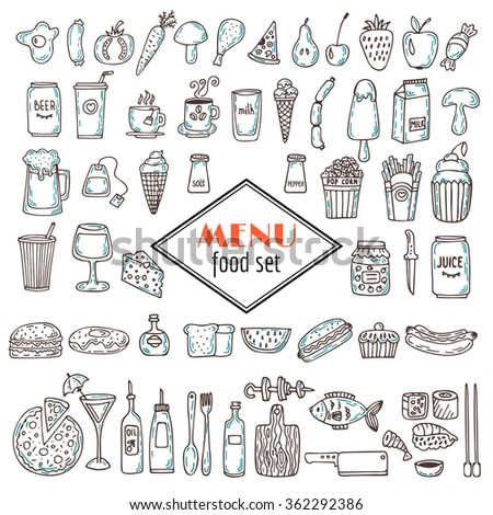 Hand drawn set of food icons. Set of various doodles, hand drawn simple sketches of different kinds of food. Vector illustration - stock vector