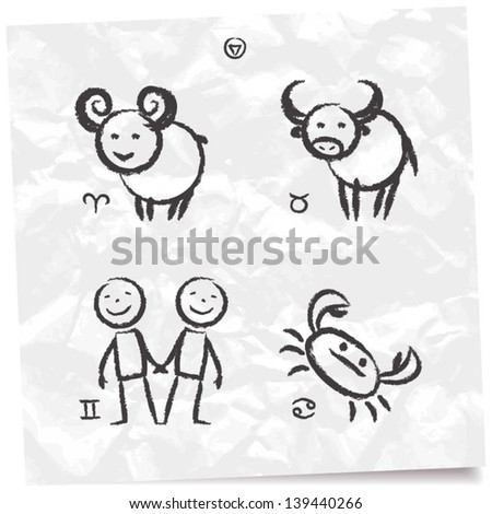 Hand drawn set of funny zodiac: Aries, Taurus, Gemini and Cancer - stock vector