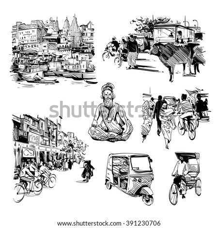 Hand drawn set of india life. Vector illustration - stock vector
