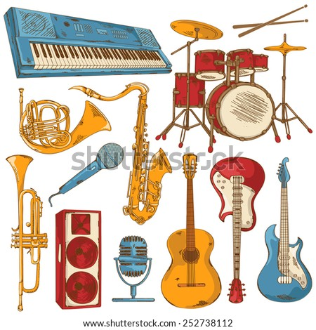 Hand drawn set of isolated colorful musical instruments - stock vector