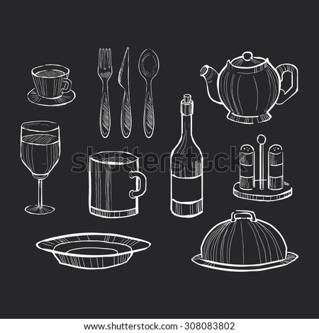 Hand drawn set of kitchen utensils on a chalkboard background - stock vector