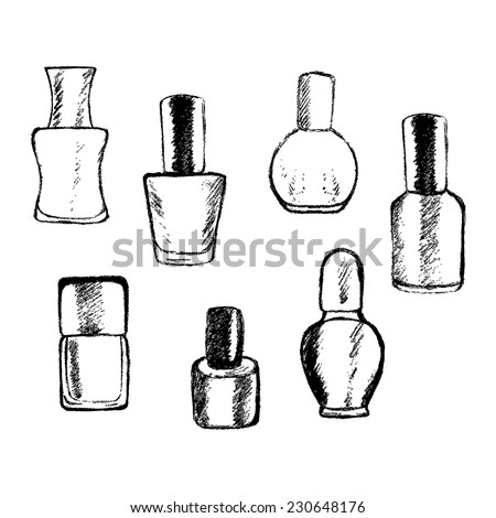 Hand Drawn Set of Nail Polish