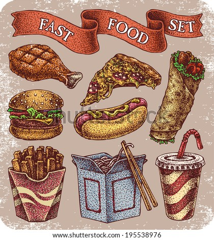Hand-drawn set of old school fast food theme tattoos.  - stock vector