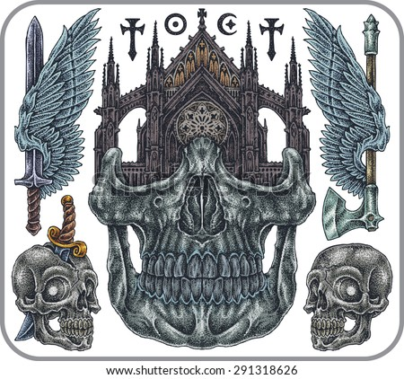 Hand-drawn set of old school gothic theme tattoos. - stock vector