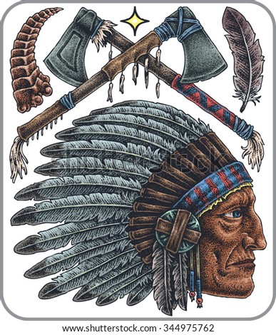 Hand-drawn set of old school native americans theme tattoos. - stock vector